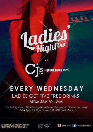CJ's Bar at Quaich, RWS: Ladies' Night every Wednesday