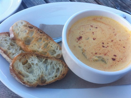 Midtown Oyster Bar: Oyster Stew with crusty bread for dipping.