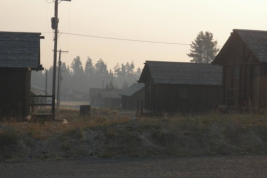 Lake Lodge Cabins: View from our porch (hazy due to wildfire smoke)