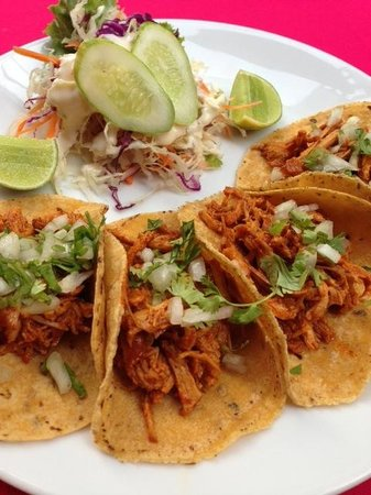 Tacos & Salsa Mexican Bistro: taquitos! soft corn torillas with filled with tender pork pibil (cochinita pibil)
