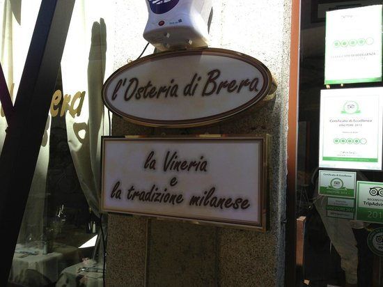 Osteria di Brera: The sign (and the tripadvisor stickers)