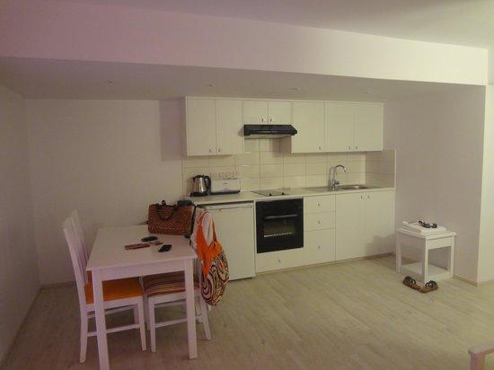 Liquid Hotel Apartments : кухня