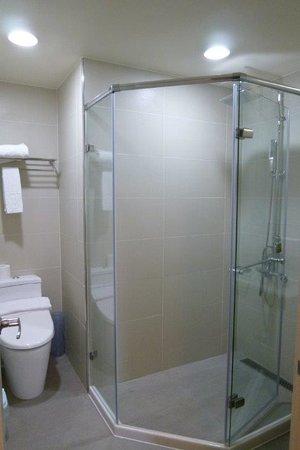 Y Hotel Taipei: トイレとシャワーブース。シャワーはハンドシャワーつき。シャワーの手前に洗面台があります。