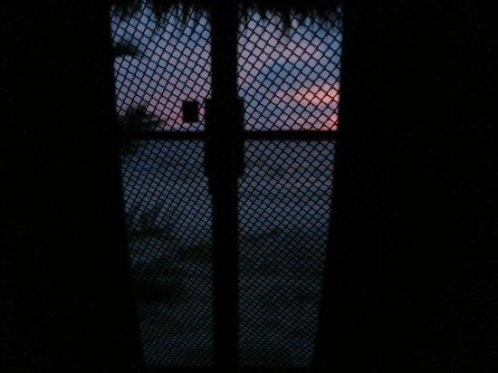 The Beach Island Resort & Beach Club: Sonnenaufgang vom Inneren des Moskitonetzes :-)