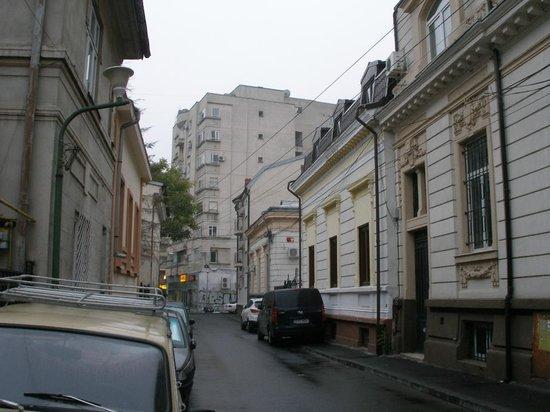 X Hostel Bucharest: Street of hostel