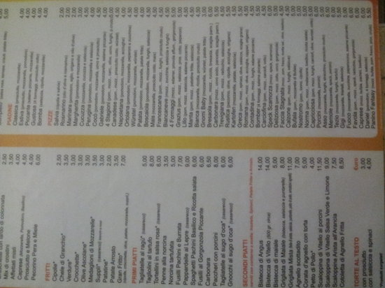 Colle Umberto I, Italy: menu