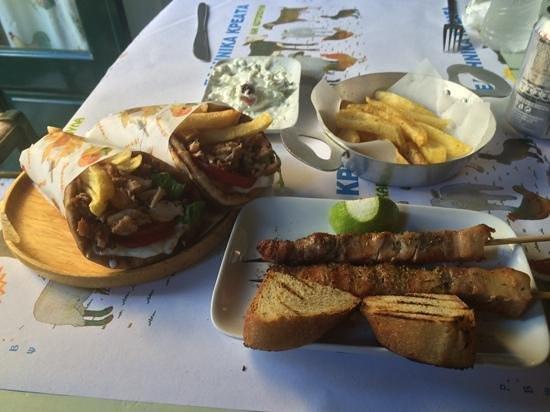 Kotetol : The Gyro Pitas with chicken, pork skewers, fresh-cut potatos and home made tzaziki