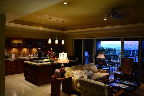 Ho'olei at Grand Wailea: View of the Kitchen, Living Room and Deck
