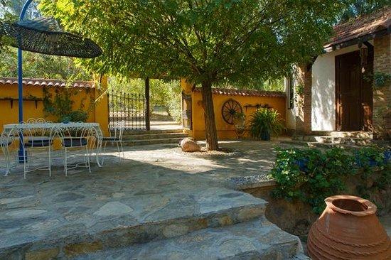 Bakkhos Guesthouse: patio bij de lobby
