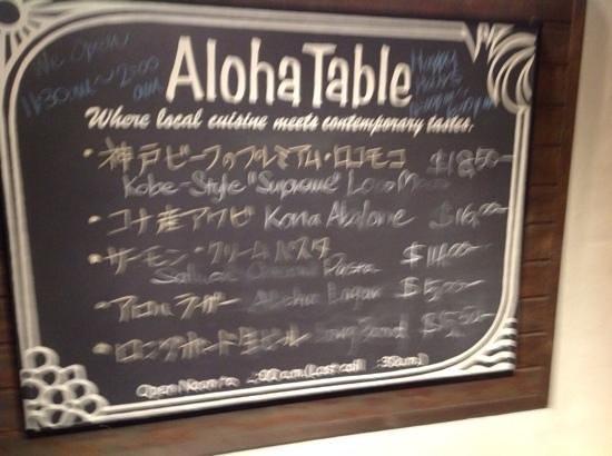 Aloha Table Waikiki: menu