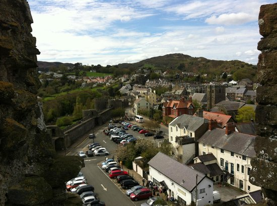The Town House B&B Guest House: Looking out from Conwy Castle. The B&B is the vanilla coloured building in the middle.
