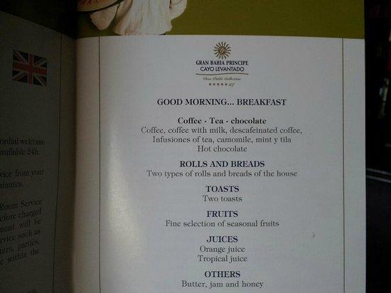 Breakfast room service menu  Picture of Luxury Bahia Principe