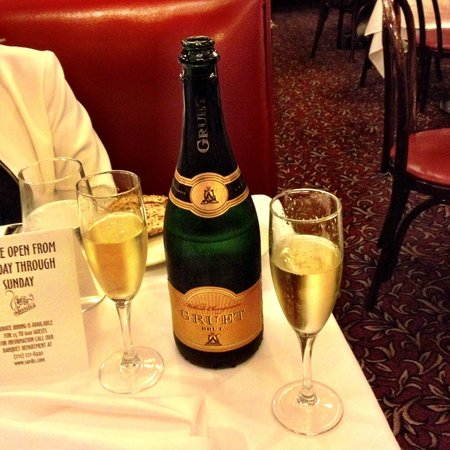 Sardi's Restaurant : Champagne ordered from St. Louis by our children.