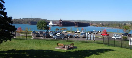 Two Harbors Lighthouse: View of the harbor from the lighthouse grounds