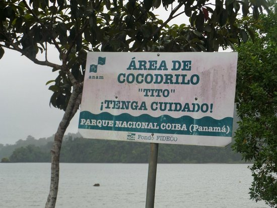 Coiba Island National Park: Warning sign for Tito...just keep away from is bay...you'll be fine.