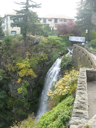 Columbia Gorge Hotel : natural waterfall on the grounds