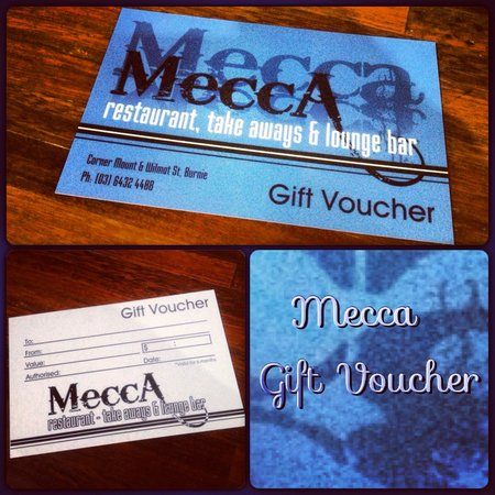 Mecca Restaurant: Gift vouchers are also available