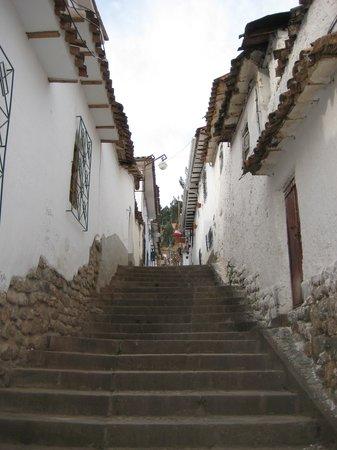 Casa de Mama Cusco-The Treehouse: ladeira de acesso ao hotel. 2ª porta a esquerda. nao tem letreiro no hotel, so o numero 539.