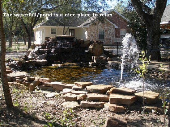 Bullwinkle's Lake Cabins: Waterfall/pond feature