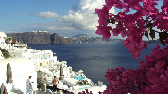 Santorin, Griechenland: View from Oia to Fira