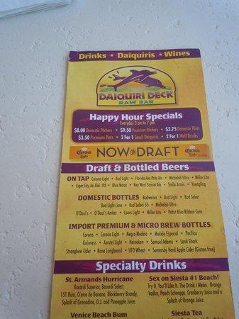 Daiquiri Deck Siesta Key : menu