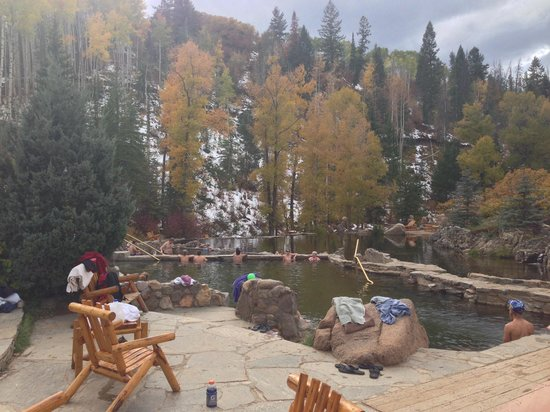 Strawberry Park Natural Hot Springs: View with 2 lower pools and river