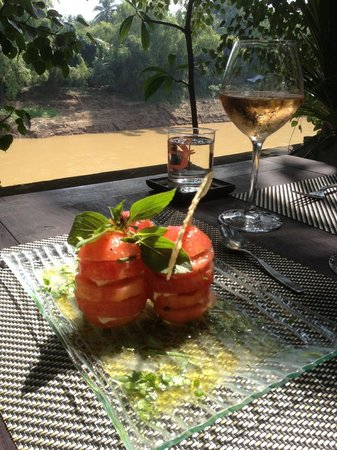 "Sala cafe: ""Tomate - Mozzarella"" with Parmesan Tuile and South of France delicate Rosé"