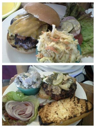 Annie's Island Fresh Burgers: Classic burger with bacon and cole slaw on top. Steak burger woth purple potato salad on bottom.
