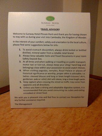 Sunway Hotel Phnom Penh: Interesting 'Travel Advisory' in each room