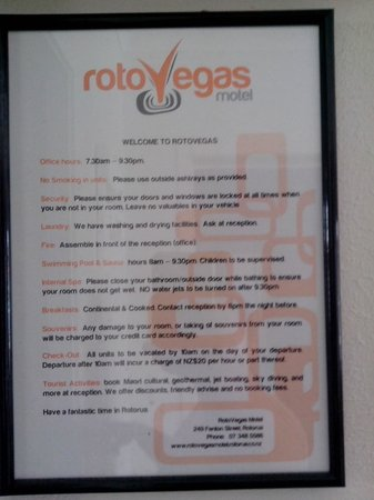 RotoVegas Motel of Rotorua: Note from Rotovegas