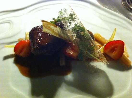 Restaurant Le Saint-James Relais & Chateaux: Roasted Pigeon with Rhubarb & Strawberry