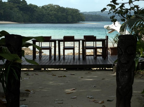 Turtle Bay Lodge: one of the alfresco areas looking to Oyster Island