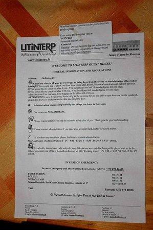 Litinterp Guest House Kaunas: Памятка в номере