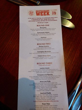 Cuba Libre Restaurant & Rum Bar: Restaurant week menu card