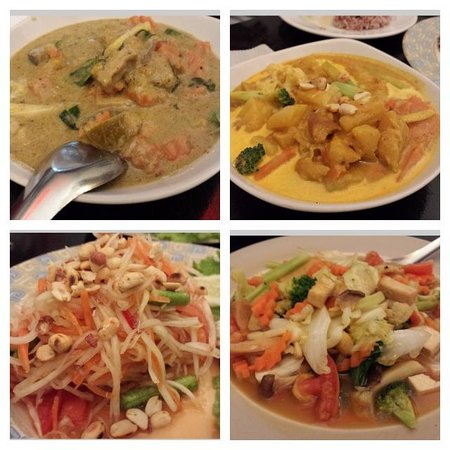 May Kaidee Samsen - Vegetarian Restaurant: green curry, mamasam curry, mango salad and fried veg