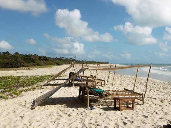 Ras Kutani: private beach area with shade and room service