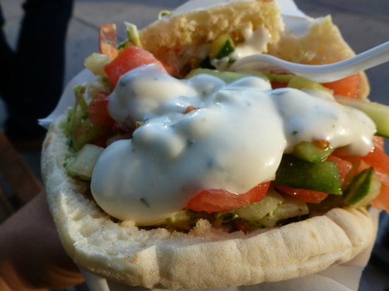 Maoz: under all that garlic sauce is falafel in a pita with salad