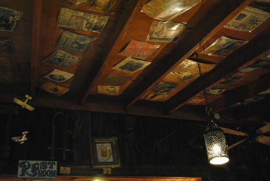 Polly's Pancake Parlor : memorabilia on the ceiling