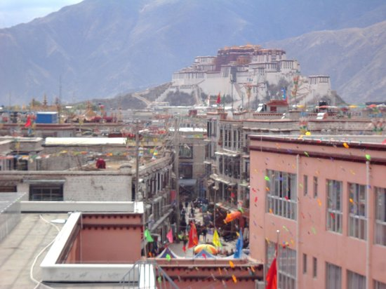 Shambhala Palace: Potala palace seen from rooftop restaurant