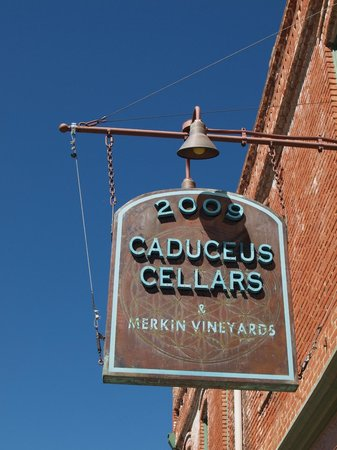 Caduceus Cellars: Better show of sign... you can read it...