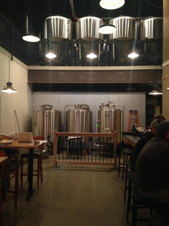 Skewed Brewing: The 5bbl brewhouse, and above that are the 10bbl fermenters