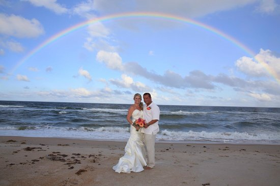 The Reef Restaurant: perfect rainbow as a backdrop to our gorgeous beach wedding