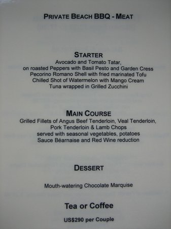 Veligandu Island Resort & Spa : Beach BBQ meat menu