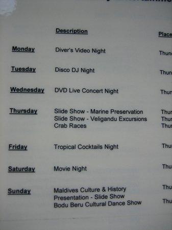 Veligandu Island Resort & Spa : Entertainment schedule