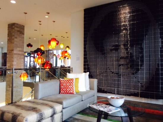 The Alexander: Hotel lobby, small glimpse of great art filled space.