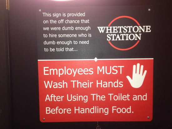 Whetstone Station Restaurant and Brewery: I love a place with humor!