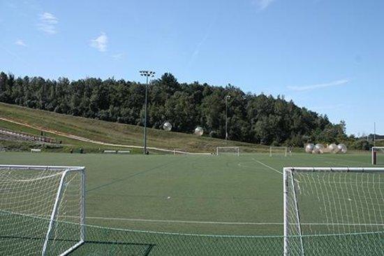 Nice Soccer Fields. Zorb Balls Going Up The Track