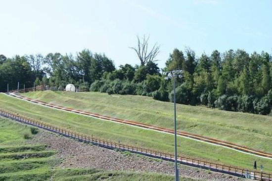 New England Sports Park: The Zorb at the top of the track.
