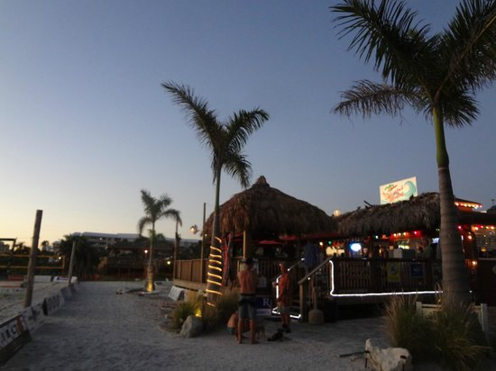 Toasted Monkey: view of bar from beach