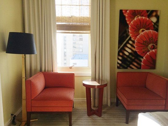 The Scarlet Huntington: Small coffee table and sofas by the window in our room